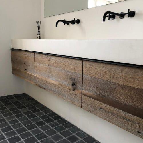 Badkamer meubel op maat van reclaimed wood met beton cire bak (7)