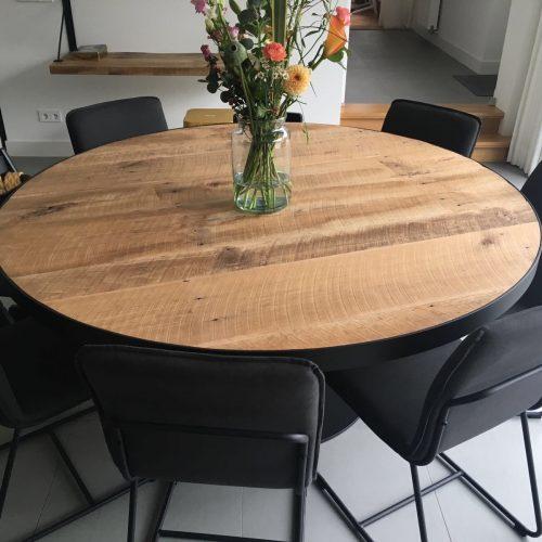 Ronde tafel eiken barnwood 170 doorsnede (1)